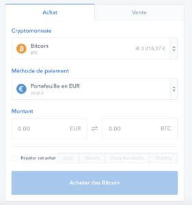 Achat cryptomonnaie CB Coinbase