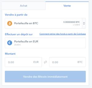 Vente Coinbase