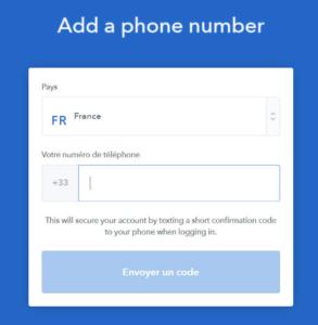 Ajouter un numéro Coinbase