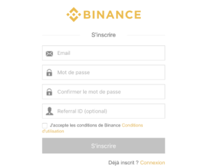 Inscription - Binance
