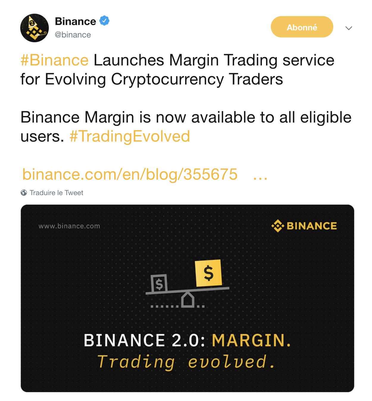 CZ, le CEO de Binance qui annonce le lancement officiel du Margin Trading prévu pour le 14 juillet 2019.