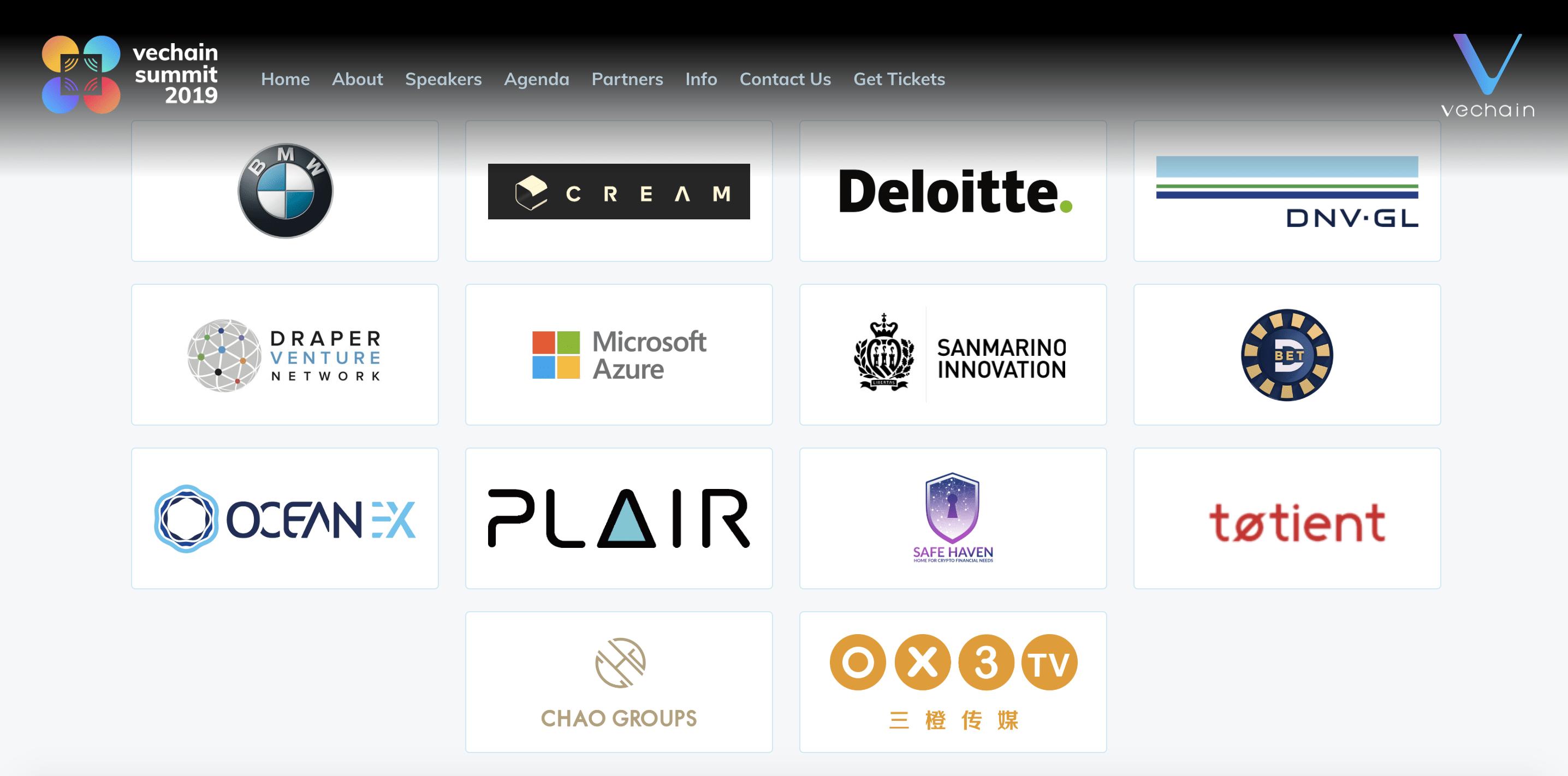 Voici les entreprises participantes au VeChain Summit 2019