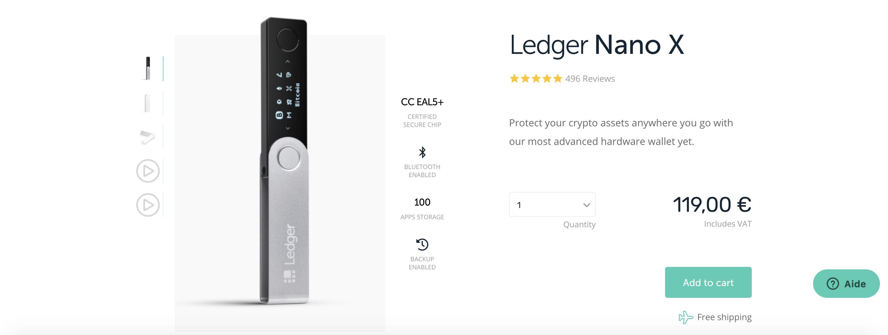 La page de présentation du Ledger Nano X sur le site officiel de l'entreprise.