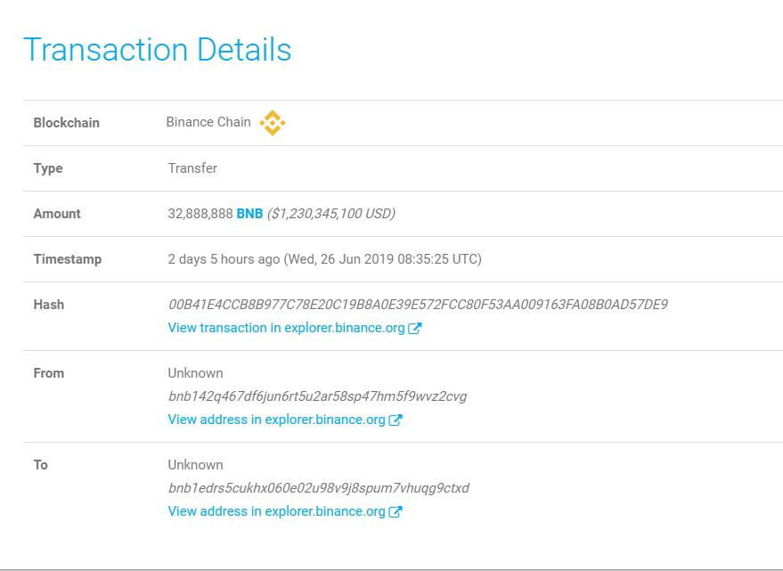 Les détails réels de la transaction affichée sur WhaleAlert