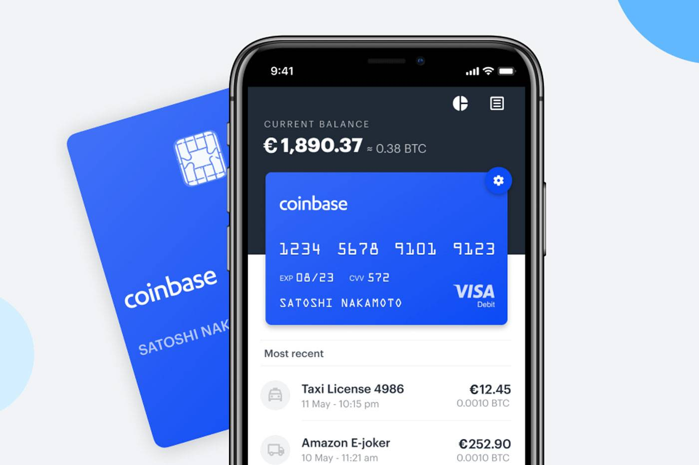 """Voici une image de la """"Coinbase Card"""" affichée sur le site officiel"""