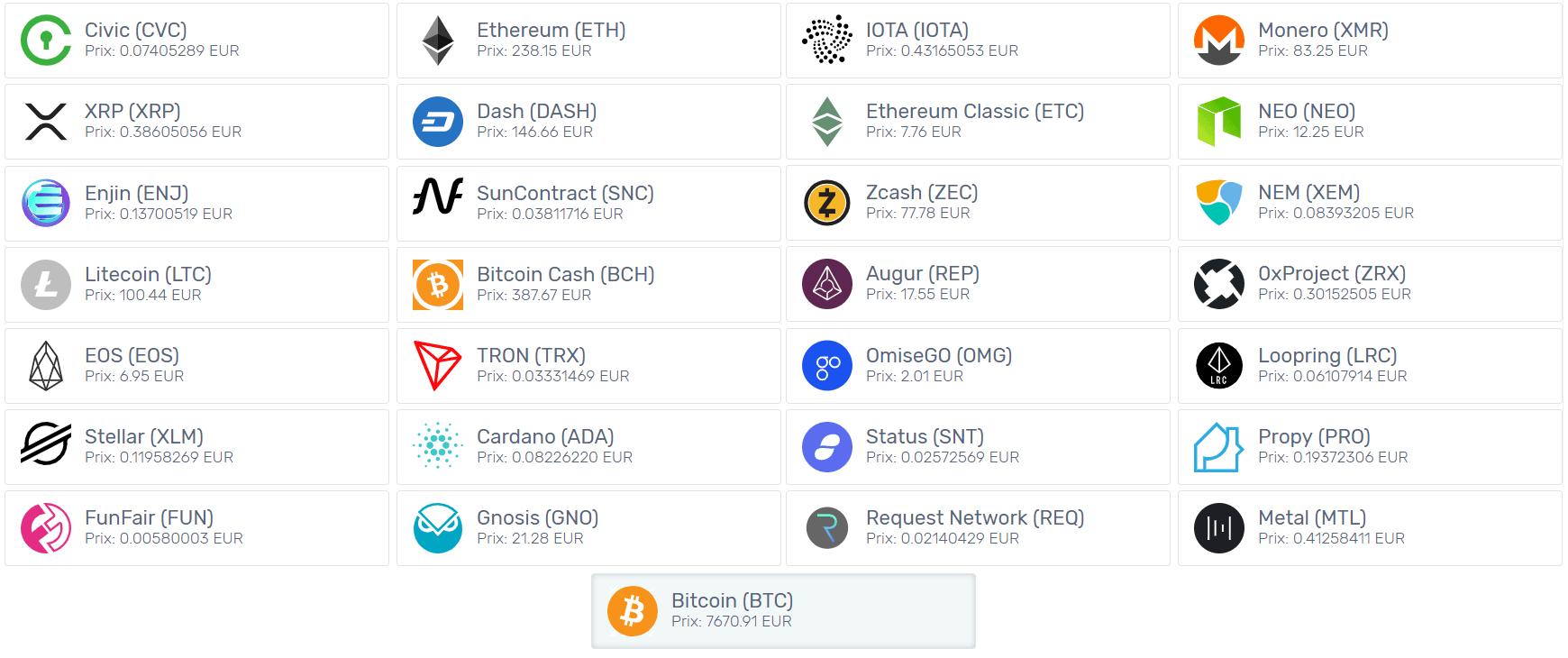 Voici les cryptomonnaies disponibles sur Kriptomat.