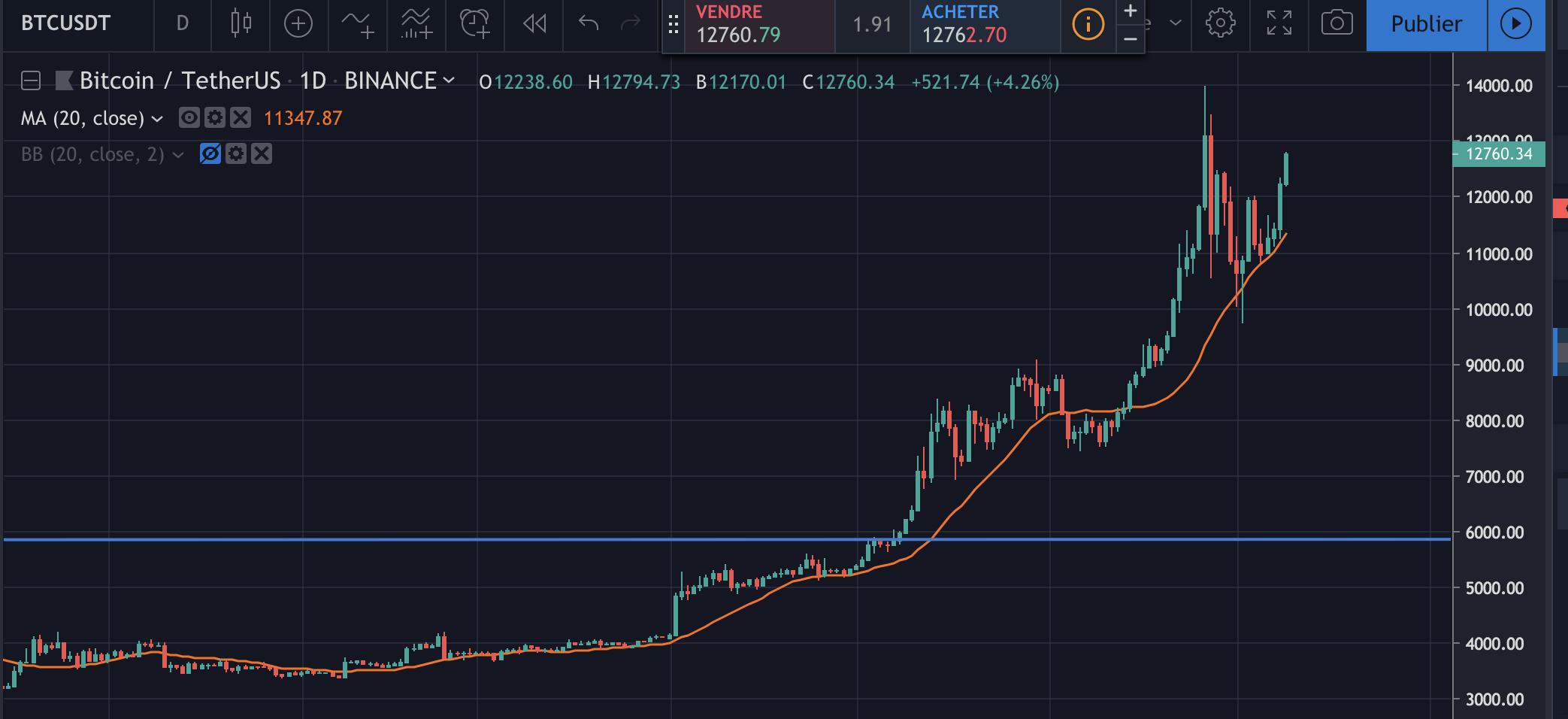 Graphique du Bitcoin/USDT en 2019 en 1D sur Binance. Source : TradingView