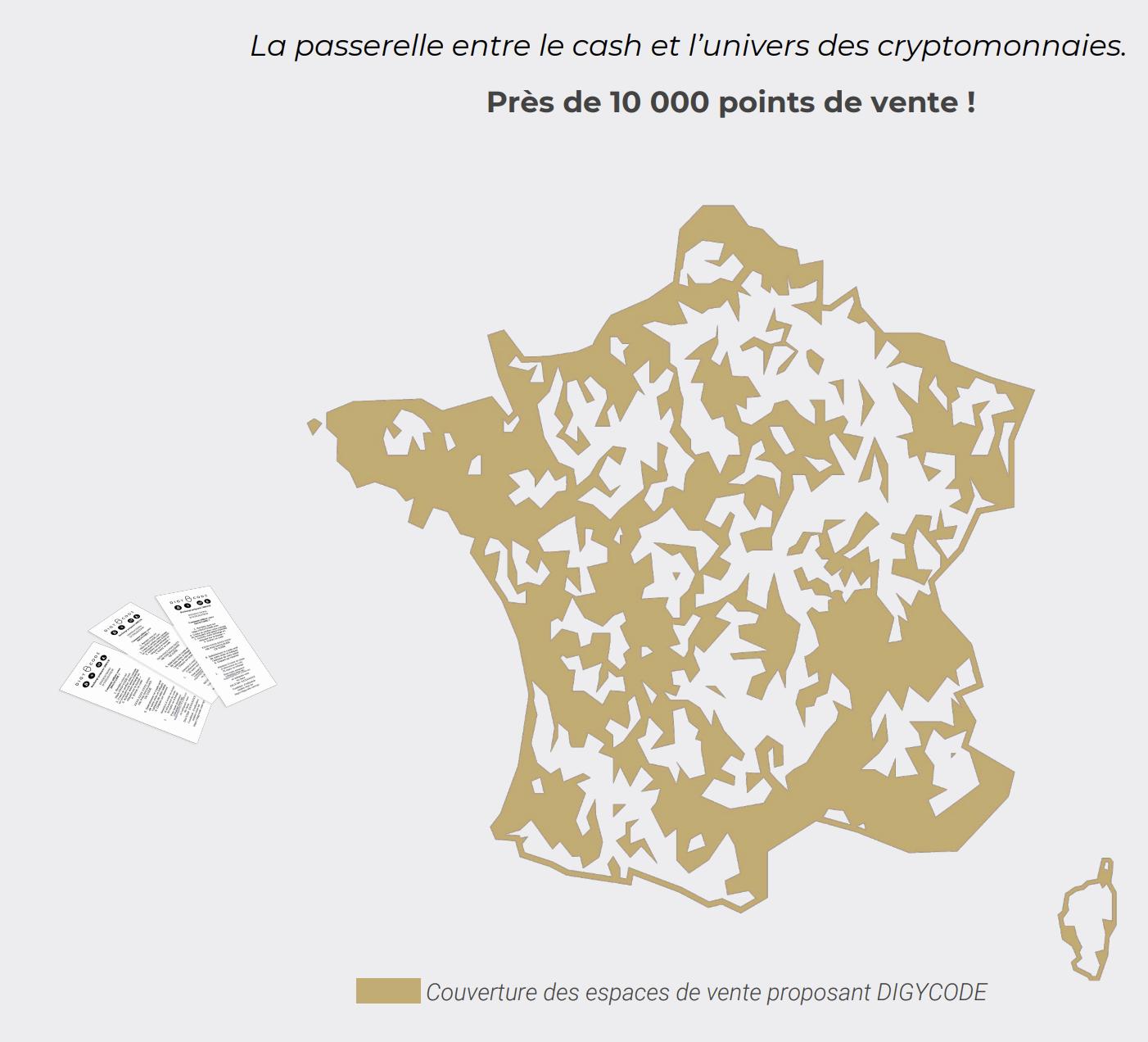 Voici la carte de la couverture du service DIGYCODE en France.