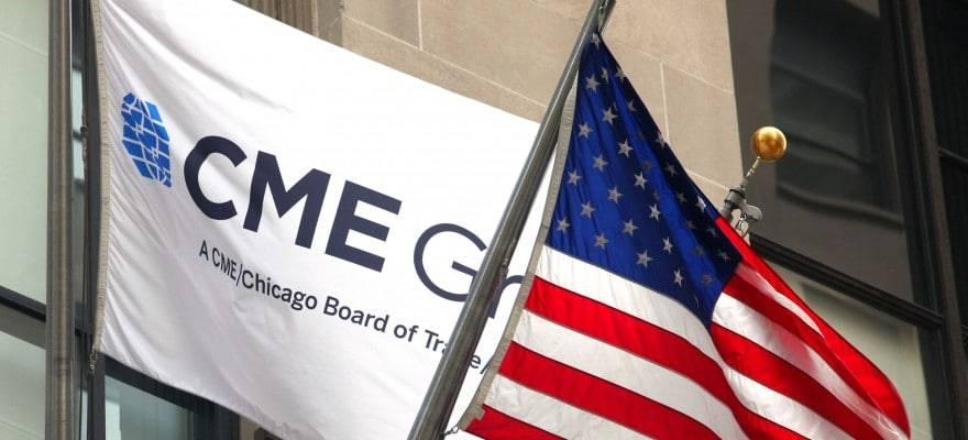 CME group avec le drapeau américain.