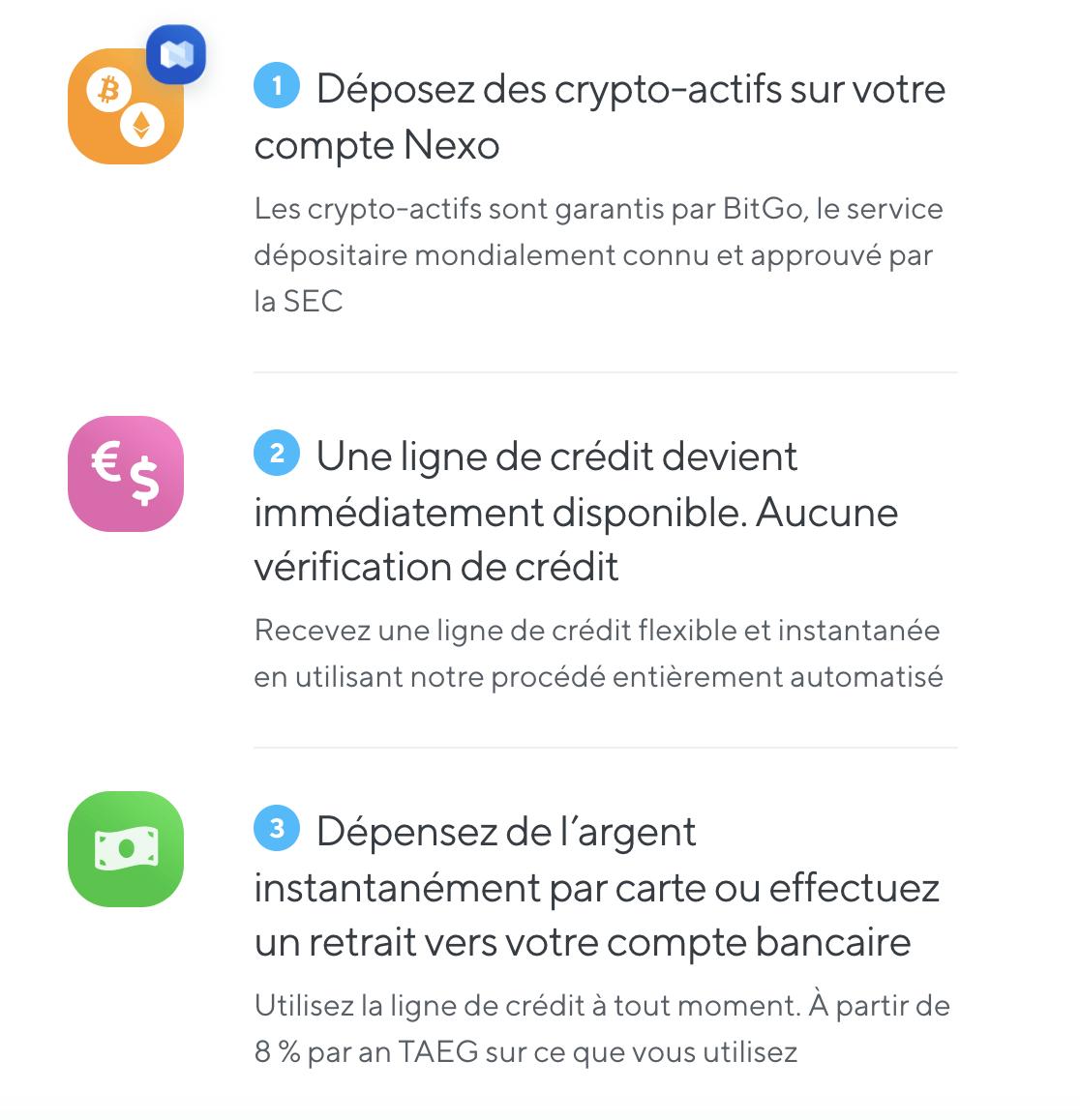 Les 3 étapes pour obtenir son prêt sur Nexo.