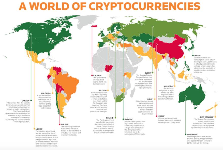 Carte de la régulation des cryptomonnaies.