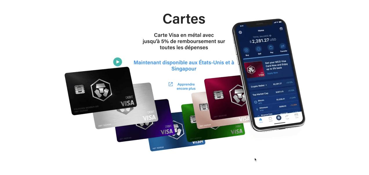 Carte visa MCO Crypto.com