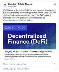 Chainlink et la Defi - Twitter