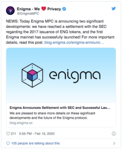 Enigma $ENG Twitter SEC