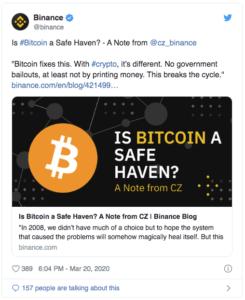 Binance Bitcoin $BTC coronavirus