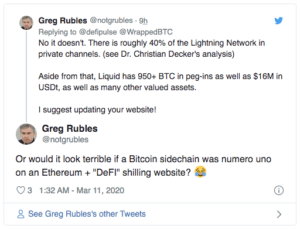 Greg Rubles Defipulse wBTC