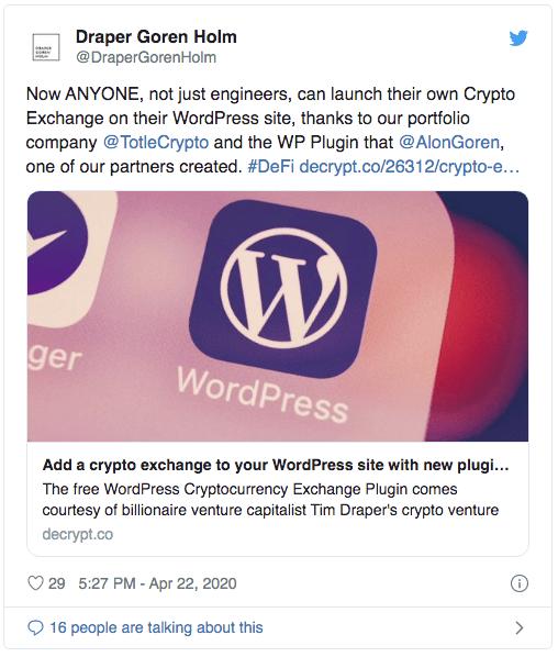 Draper Goren Holm plateforme DEX sur WordPress
