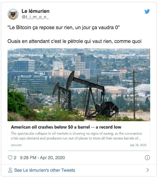 Bitcoin pétrole chute