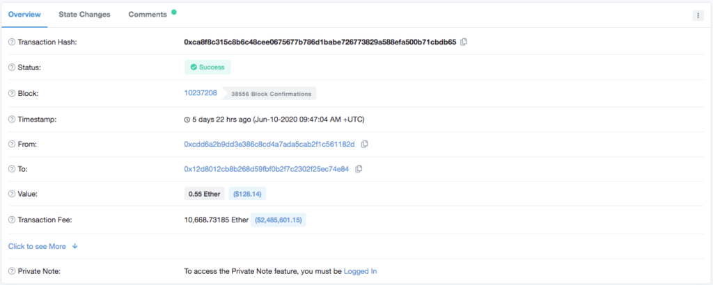 Etherscan Frais de plus de 2 millions de dollars pour une transaction Ethereum