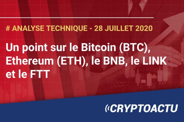 Analyse technique Bitcoin Ethereum BNB Link et FTT