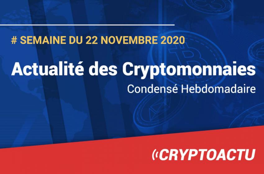 Actualité des cryptomonnaies – Semaine du 22 novembre 2020