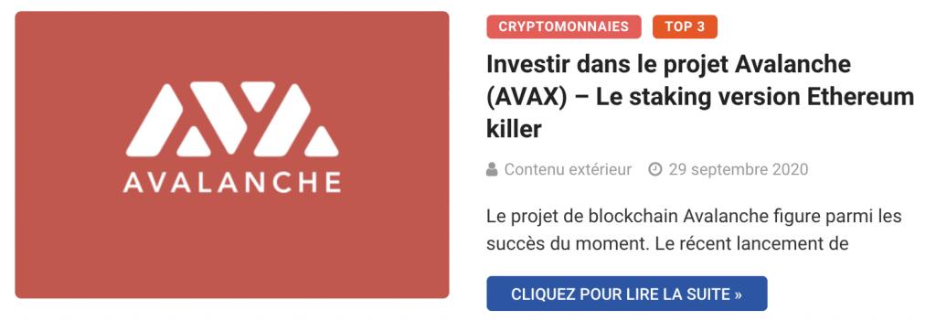 Investir dans le Staking Avalanche (AVAX)