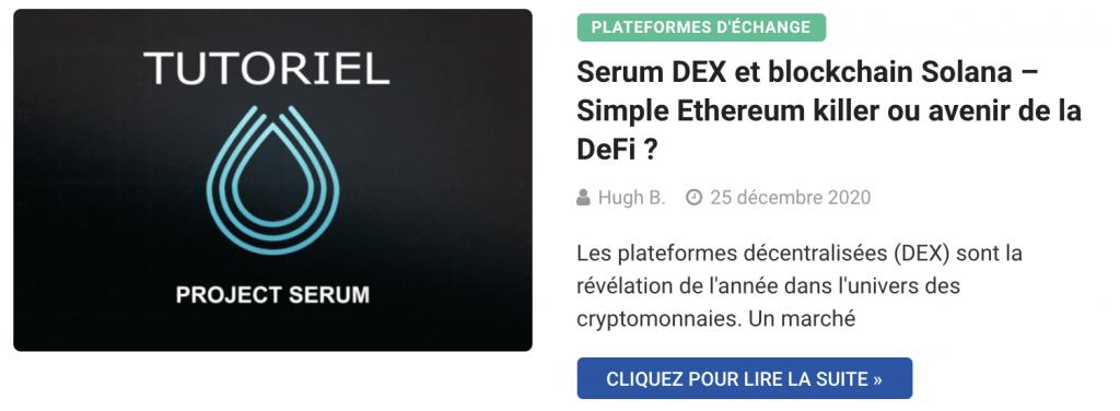 Serum DEX et blockchain Solana – Simple Ethereum killer ou avenir de la DeFi ?