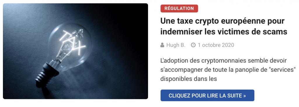 Une taxe crypto européenne pour indemniser les victimes de scams
