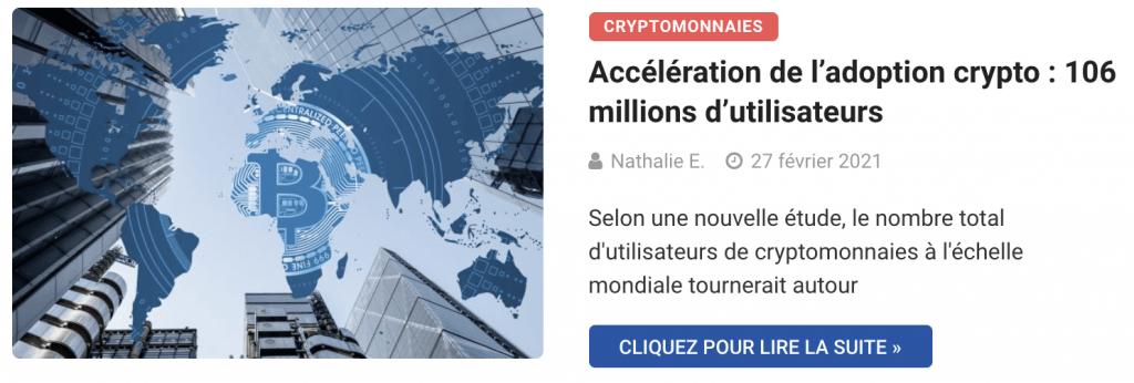 Accélération de l'adoption crypto : 106 millions d'utilisateurs