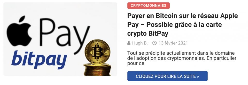 Payer en Bitcoin sur le réseau Apple Pay – Possible grâce à la carte crypto BitPay