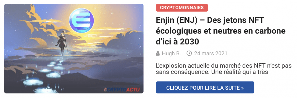 Enjin (ENJ) – Des jetons NFT écologiques et neutres en carbone d'ici à 2030