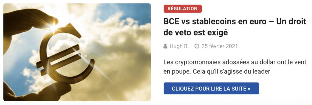 BCE vs stablecoins en euro – Un droit de veto est exigé