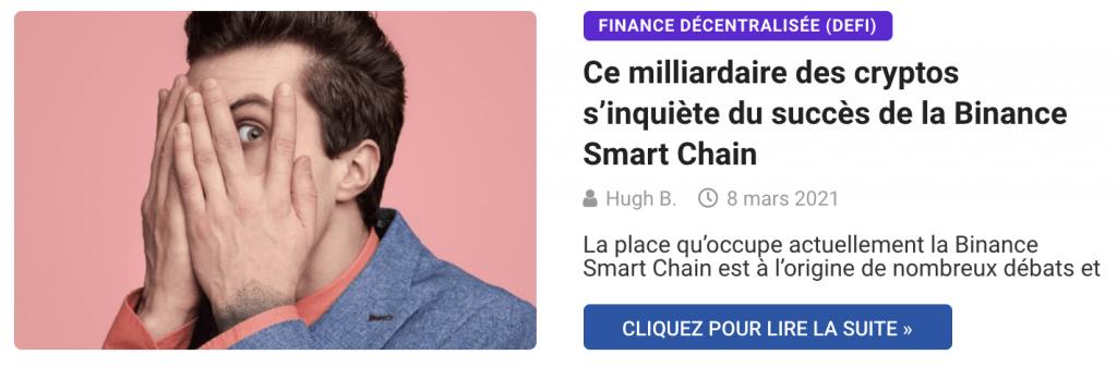 Ce milliardaire des cryptos s'inquiète du succès de la Binance Smart Chain