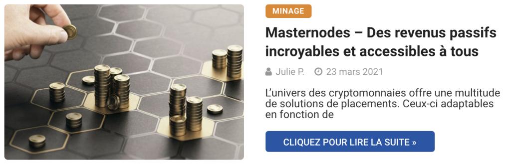 Masternodes – Des revenus passifs incroyables et accessibles à tous