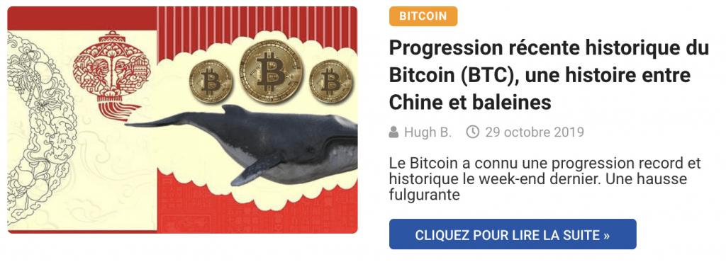 Progression récente historique du Bitcoin (BTC), une histoire entre Chine et baleines