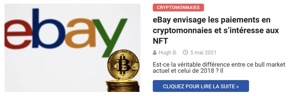 eBay envisage les paiements en cryptomonnaies et s'intéresse aux NFT