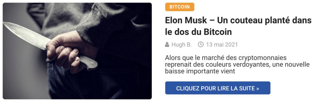 Elon Musk – Un couteau planté dans le dos du Bitcoin
