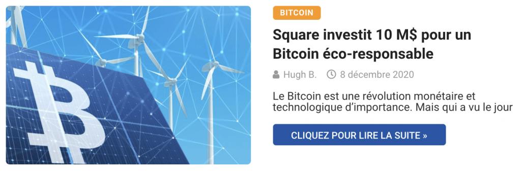 Square investit 10 M$ pour un Bitcoin éco-responsable