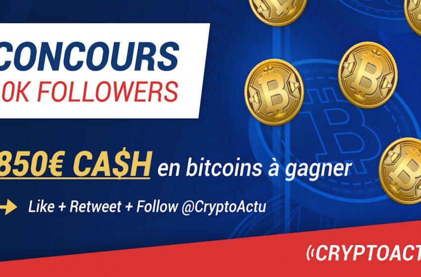 850€ en Bitcoin – CryptoActu fête son passage à 10k followers sur Twitter