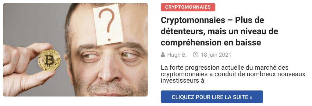 Cryptomonnaies – Plus de détenteurs, mais un niveau de compréhension en baisse