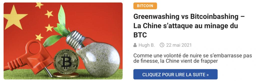 Greenwashing vs Bitcoinbashing – La Chine s'attaque au minage du BTC
