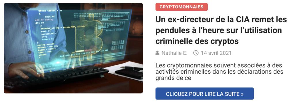 Un ex-directeur de la CIA remet les pendules à l'heure sur l'utilisation criminelle des cryptos