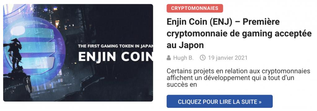 Enjin Coin (ENJ) – Première cryptomonnaie de gaming acceptée au Japon