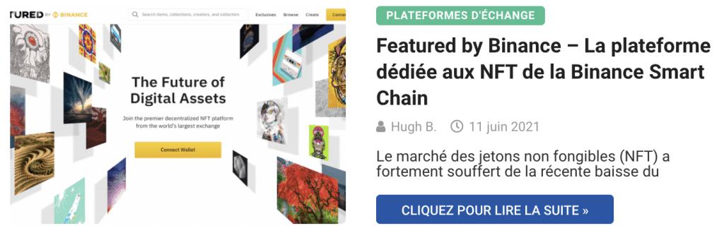 Featured by Binance – La plateforme dédiée aux NFT de la Binance Smart Chain