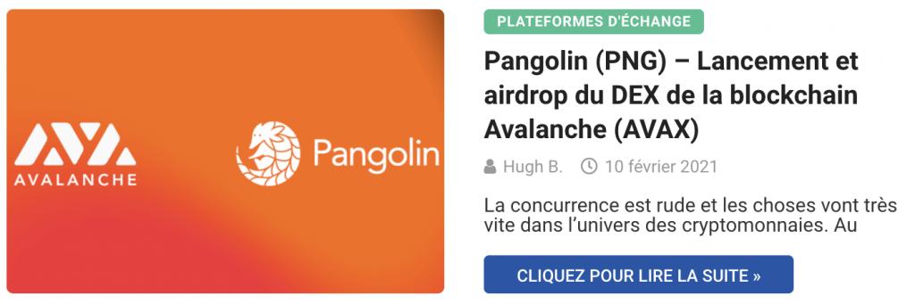 Pangolin (PNG) – Lancement et airdrop du DEX de la blockchain Avalanche (AVAX)