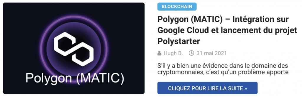Polygon (MATIC) – Intégration sur Google Cloud et lancement du projet Polystarter