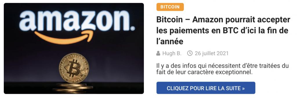Bitcoin – Amazon pourrait accepter les paiements en BTC d'ici la fin de l'année