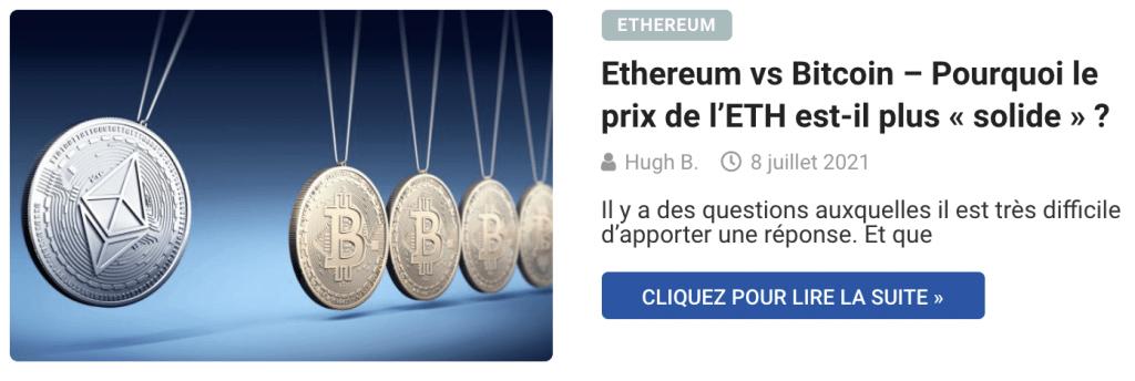Ethereum vs Bitcoin – Pourquoi le prix de l'ETH est-il plus « solide » ?