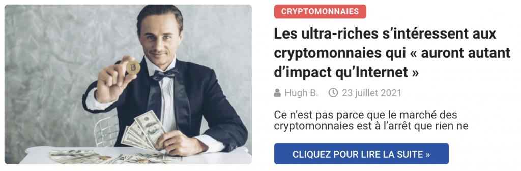 Les ultra-riches s'intéressent aux cryptomonnaies qui « auront autant d'impact qu'Internet »