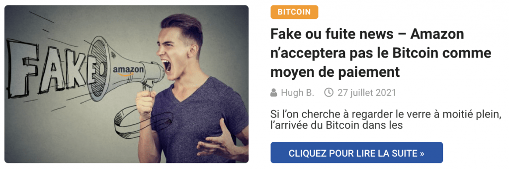 Fake ou fuite news – Amazon n'acceptera pas le Bitcoin comme moyen de paiement